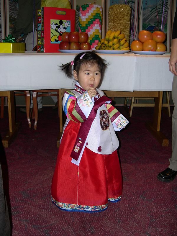 Jonathan's cousin, Chloe, shows off her birthday costume.