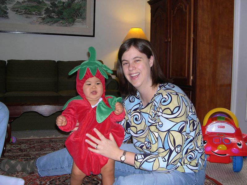 Jonathan showing off his first Halloween costume with Mom.