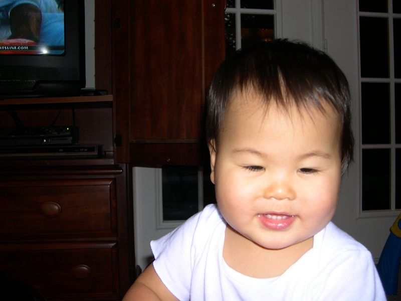 Close up of a happy baby.