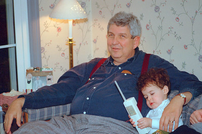 Gerry Libman with grandson Joshua Berenzweig (age 12 months), Thanksgiving 1998, Potomac, MD  Shot with Pentax ME Super on Kodak Royal 100 (frame #11) Scanned on Minolta Scan Dual II in June 2016