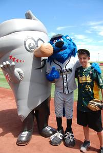 Josha with the team mascots.