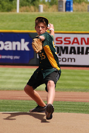 Joshua throws the first pitch