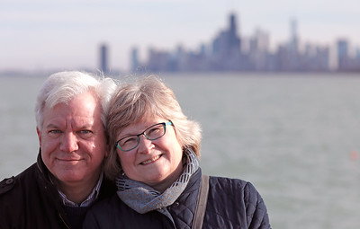 Bradley S. and Joyce Pines enjoy a lakefront stroll in celebration of Joyce's 60th birthday weekend in Chicago on April 1, 2017.