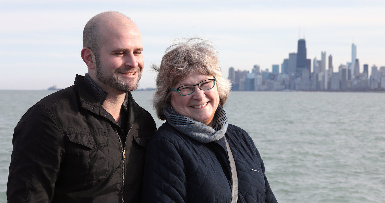 Joyce Pines and her son, Justin Petersen, enjoy a lakefront stroll in celebration of Joyce's 60th birthday weekend in Chicago on April 1, 2017.