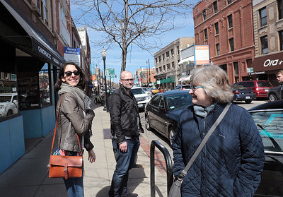 Giorie Mahn, her husband, Justin Petersen and his mother, Joyce Pines, enjoy a stroll through Chicago's Andersonville neighborhood on April 1, 2017.