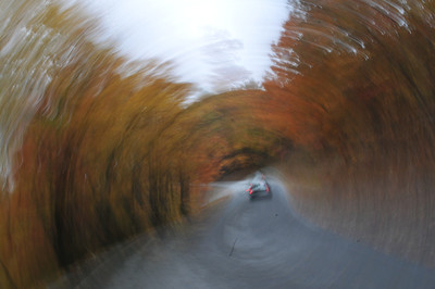 I added a motion effect to a photo of a car going up the curvey road in the Mountains near Tiger, GA on Bridge Creek Road.