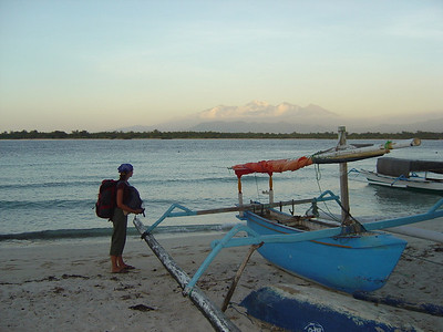 Mt Rinjani in the background, Lombok. Views from the beach at Gili Trawangan