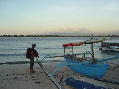 Mt Rinjani in the background, Lombok. Views from the beach at Gili Trawangan