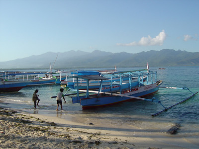 waiting for the ferry back to Lombok