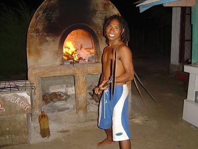 Joe preparing the pizza oven for us
