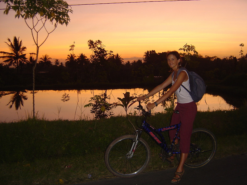 sunset over the rice paddies, after a long day's cycling around Ubud