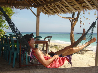 resting at Coral Beach 1, Gili Trawangan