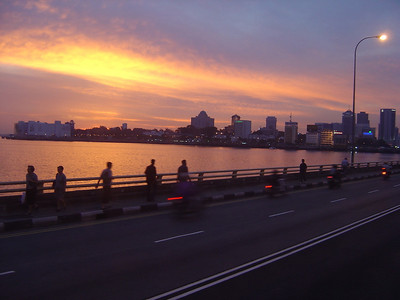 sunset as we cross over into Singapore