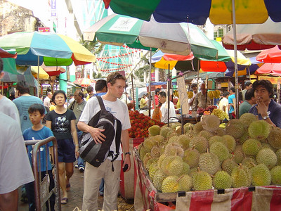 """smells like vomit, tastes like heaven""-so they say about this Durian Fruit. It certainly smells as they describe, but we thought it tasted as it smelt too!!"