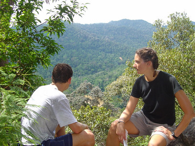 HOT AND HUMID after hiking up out of the thick jungly forest to a view point