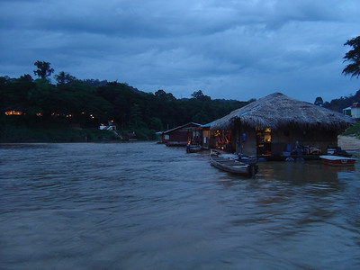 dusk and views of another floating restaurant