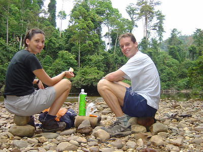 picnic lunch just after Colin tried to burn my leg off while trying to detach a persistent leech (we'd heard that burning them off would work-it did, but you have to be careful!!)