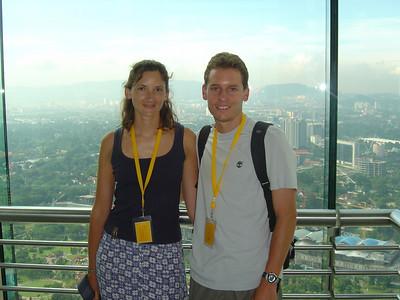 on the sky bridge inside the Petronas Towers