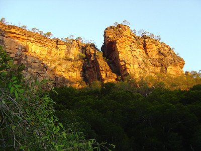 sunset on the cliffs on the hike out of Jim Jim Falls, Kakadu