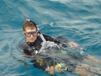 Colin about to dive on the Great Barrier Reef