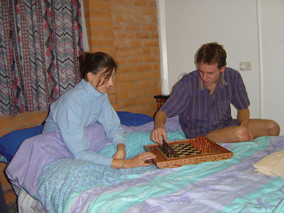 trying out our new chess set at the Waldecks house in Brisbane