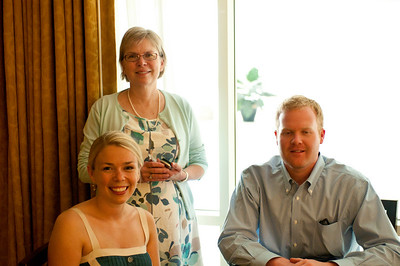 My sister, Marcia (standing), with her daughter Julia and fiance Robert.