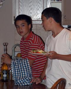 Maitre'D Patrique et Head waiter Nicholas preps the chilled wine and cranberry apple salad dish