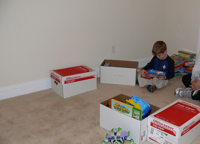 Connor unpacking some of his boxes
