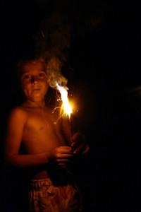 Ryan holding a sparkler