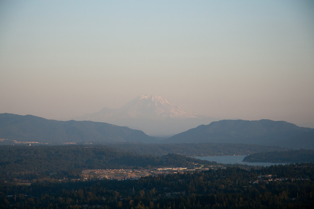 Descending for a hot air balloon landing with a view of Mt. Rainier in the background, July 2009