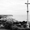 RB:  Cross overlooking Arromanches.  See the mulberries in the ocean there?