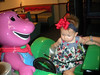 Carlyle riding the Barney ride.