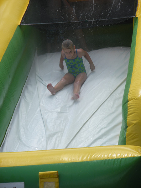 Camden sliding down the water slide