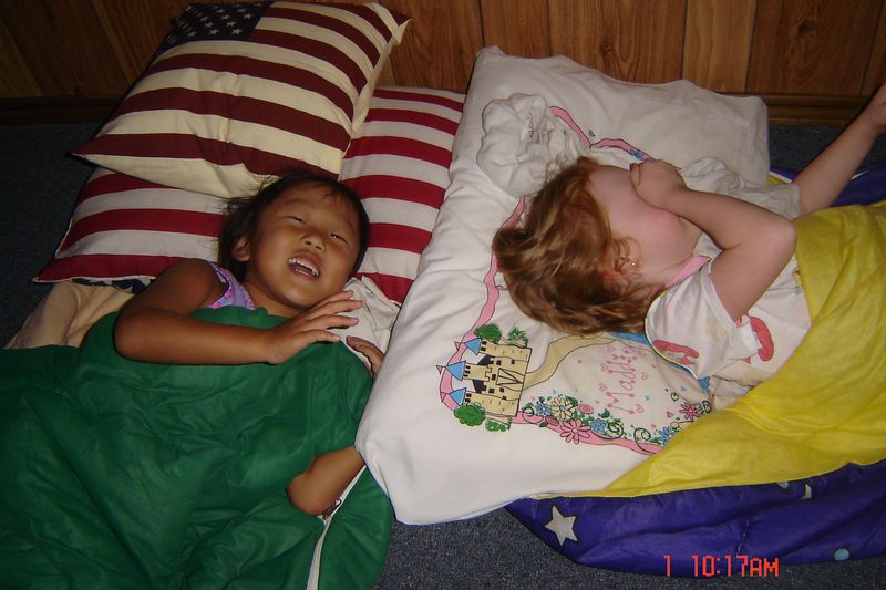 sleeping on the floor is fun when you are 5 and 4!