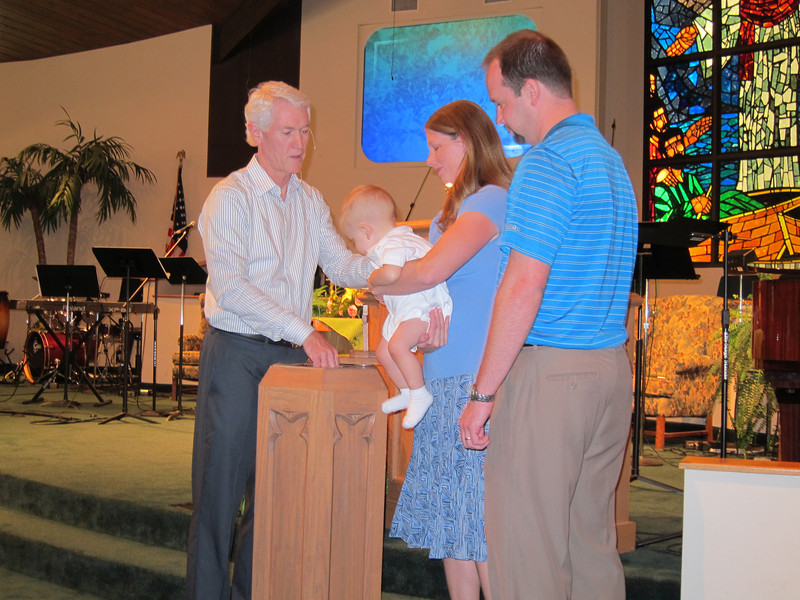 Rev David Miller, Jenny, Bryan, Chris Lisek, Bryan's baptism using water from the River Jordon, Faith Presbyterian Church, Seminole, FL. 6/17/2012