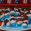 Red, white, and blue strawberries