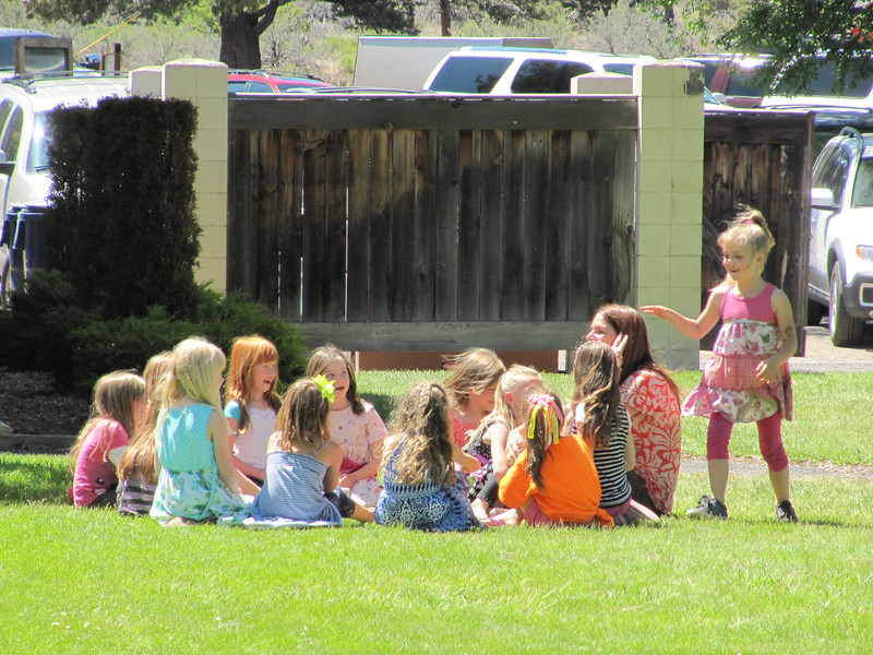 Girls game of duck, duck, goose on Norah's last day of Kindergarten.