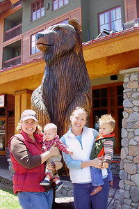 Lake Tahoe -- Meghan & Will and Ari & Joey w/ carved bear
