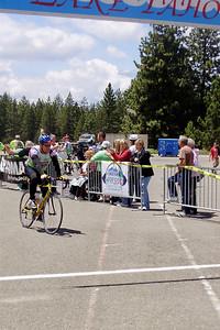 Drew crosses the finish line