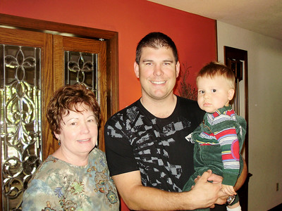 Joey with Daddy and Grandma