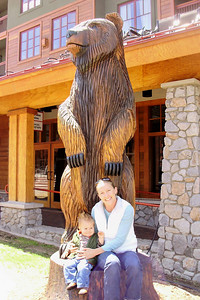 Lake Tahoe -- Ari & Joey w/ carved bear