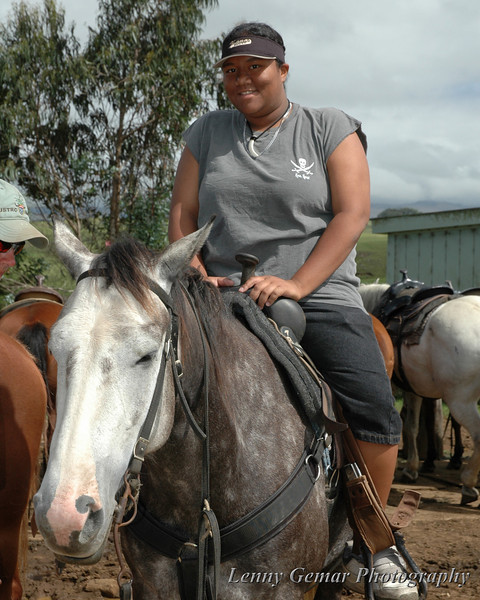 Kyrstin had wanted to ride a horse since she was young, but the opportunity just never presented itself. While on vacation to the big island, we found a horse ranch with horses sturdy enough to handle her.  She had a blast, as the smiles in the following photos will show.