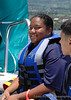 Kyrstin awaits her turn to ride the parasail in Hawaii.