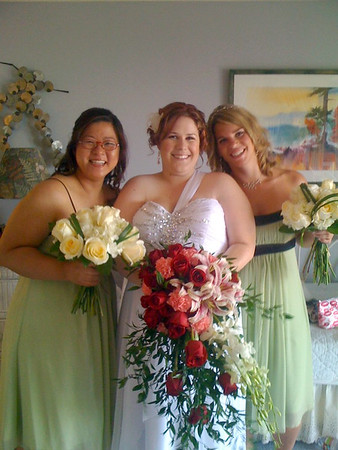 *not taken by me - iphone picture (?)*<br /> Ae-Suk Brent (bridesmaid), Kara Swinson (Bride), Josie George (Maid of Honor)