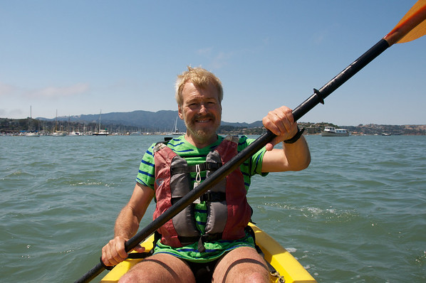 Pierre and I venture out into the open waters beyond the little sheltered pier.  That's Mount Tamalpais in the distance
