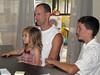 Hazel, Charlie, Jesse — at the iMac