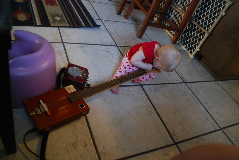 She loves my guitar, gets all jimi on it though and leaves me having to clean saliva off the strings.