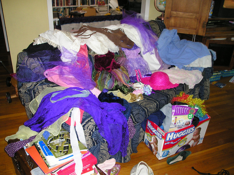 A slew of clothes for a dress-up party.