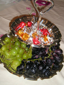 Healthy choices--grapes or chocolate.