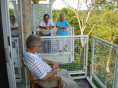 Dad from our balcony and Aunt Betty & Uncle George next door!